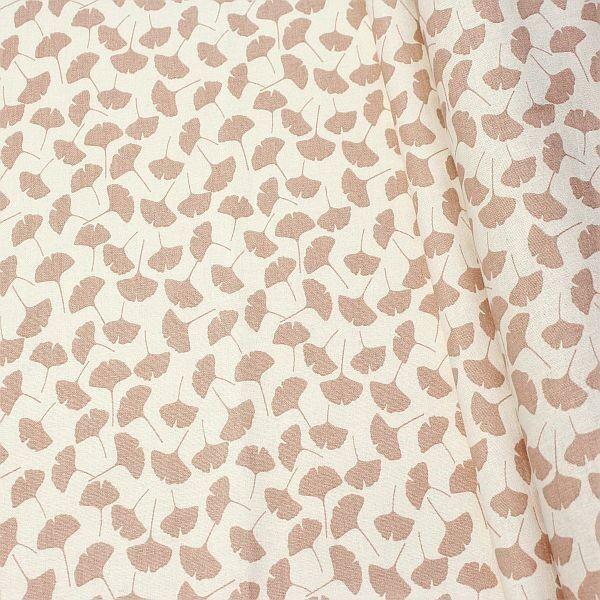 Baumwolle Dekostoff Ginkgo Blätter Ecru-Rose