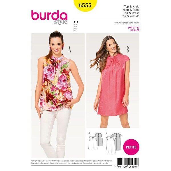 Top - Kleid - Hängerkleid - Stehkragen - Kurzgrößen, Gr. 17 - 23, Schnittmuster Burda 6555