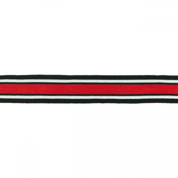 Elastikband Streifen 30mm Farbe Schwarz-Weiss-Rot