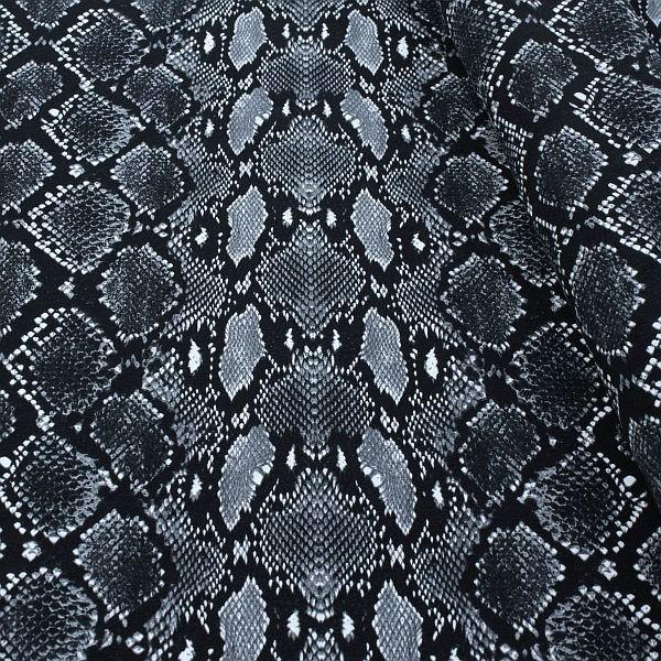 Baumwoll Stretch Jersey Snake Schwarz-Grau
