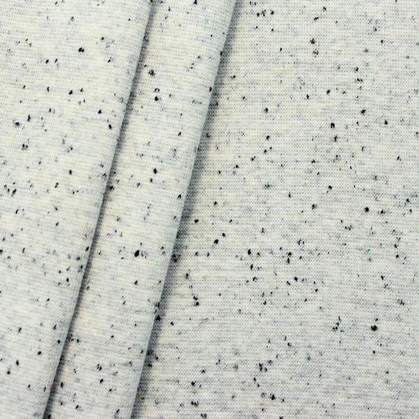 "Baumwoll Bündchenstoff glatt ""Konfetti gesprenkelt"" Farbe Weiss Grau meliert"