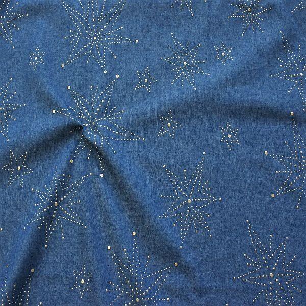 Baumwollstoff Chambray Metallic Stars Jeans-Blau