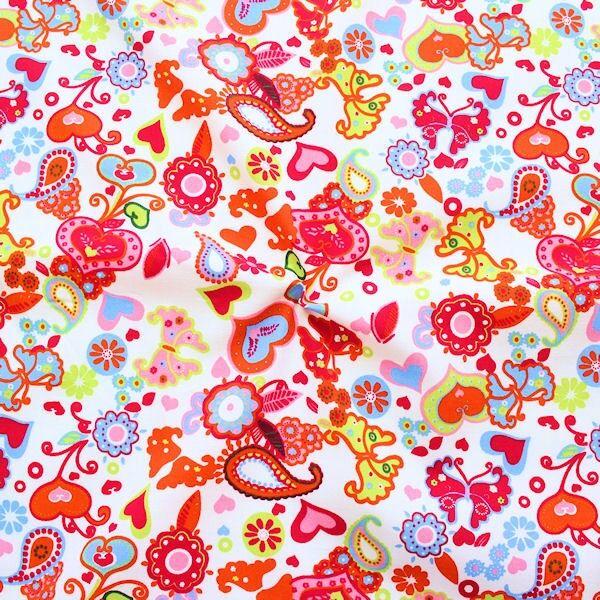 Baumwoll Popeline Heartbeat Butterfly Mix Weiss