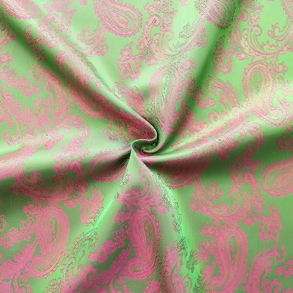 "Futterstoff Jacquard ""Paisley 2"" Farbe Grün-Pink changierend"