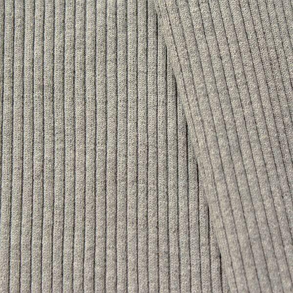 Baumwoll Bündchenstoff  Grobripp Melange Hell-Grau