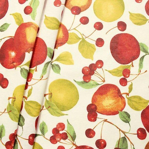 """Dekostoff beschichtet """"Obst Mix"""" Farbe Creme-Weiss"""