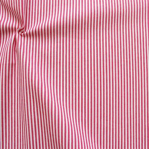 Baumwolle Denim Jeans Stoff Streifen Schmal Pink-Weiss
