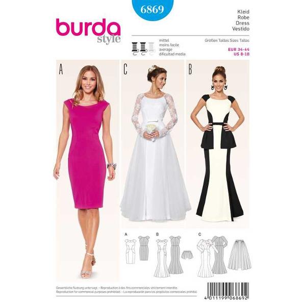 Kleid – Brautkleid – Überrock, Gr. 34 - 44, Schnittmuster Burda 6869