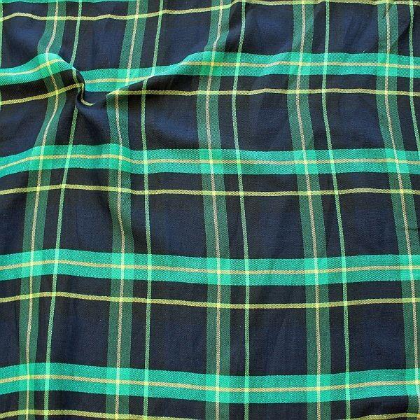 Leinen-Viskose Stoff Summer Check Blau-Grün