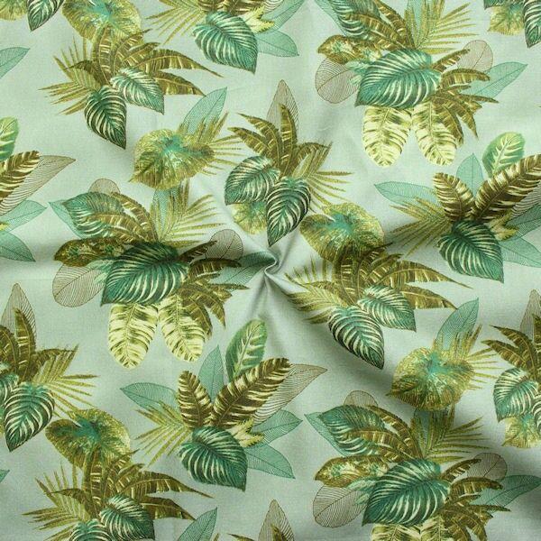 Baumwolle Popeline Palmenblätter Grün