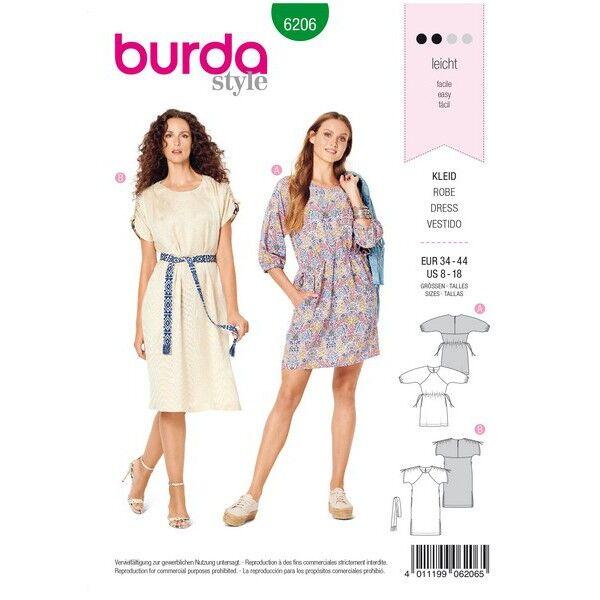 Legeres Kleid mit Raglanärmeln – Taillendurchzug, Gr. 34 - 44, Schnittmuster Burda 6206