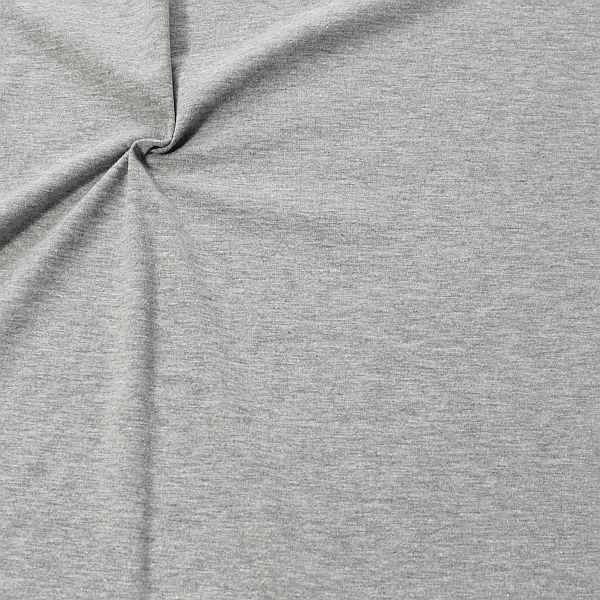 Baumwoll Stretch Jersey Fashion Basic Hell-Grau meliert