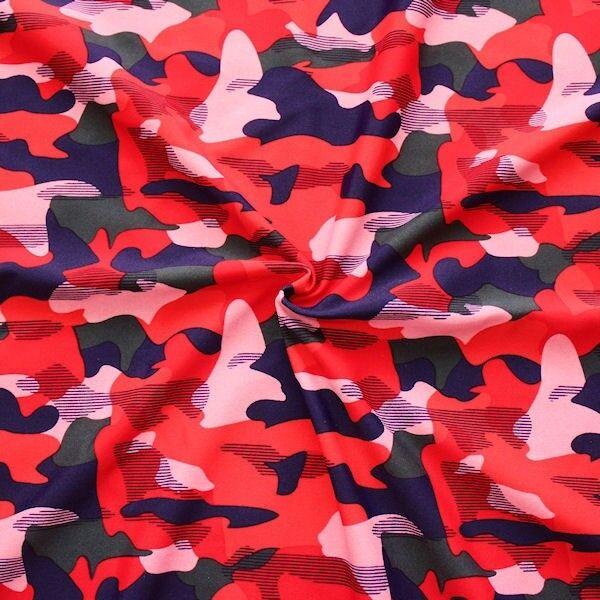 "Bi-Stretch Jersey Badeanzug Stoff ""Camouflage"" Farbe Rot"