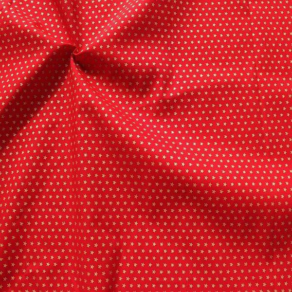 Baumwolle Popeline Gold Sterne klein Rot