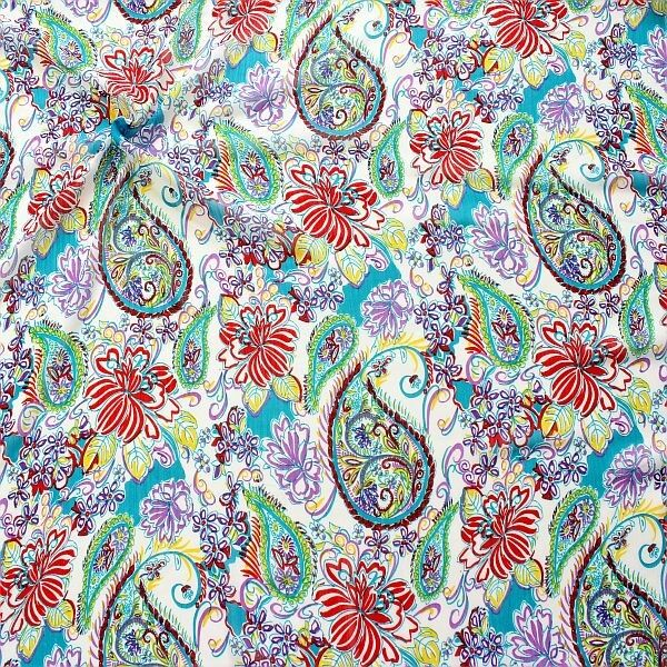 Crêpe Chiffon Sommer Paisley Weiss-Multicolor