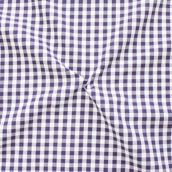 """Baumwollstoff Hemden Qualität Vichy """"Karo mittel"""" Farbe Dunkel-Aubergine Weiss"""