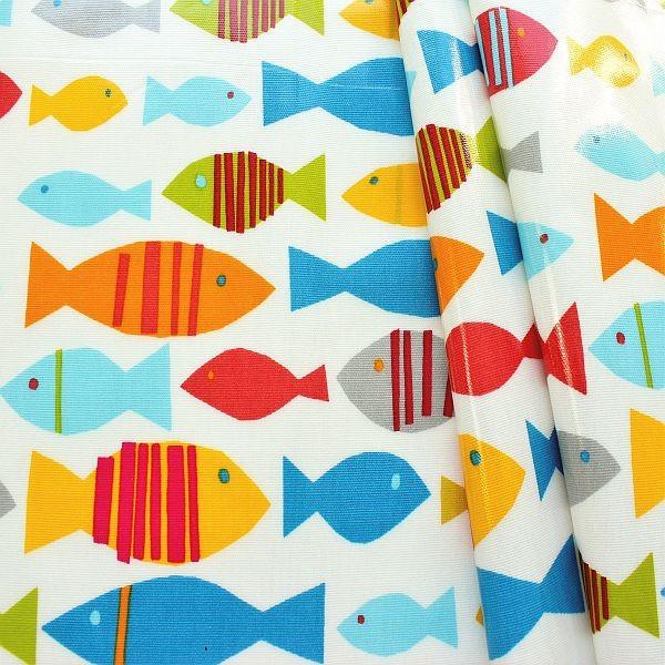 Design Dekostoff beschichtet Finn Ecru-Multicolor