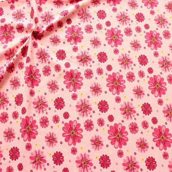 Baumwoll Stretch Jersey Blossom Mix Rosa