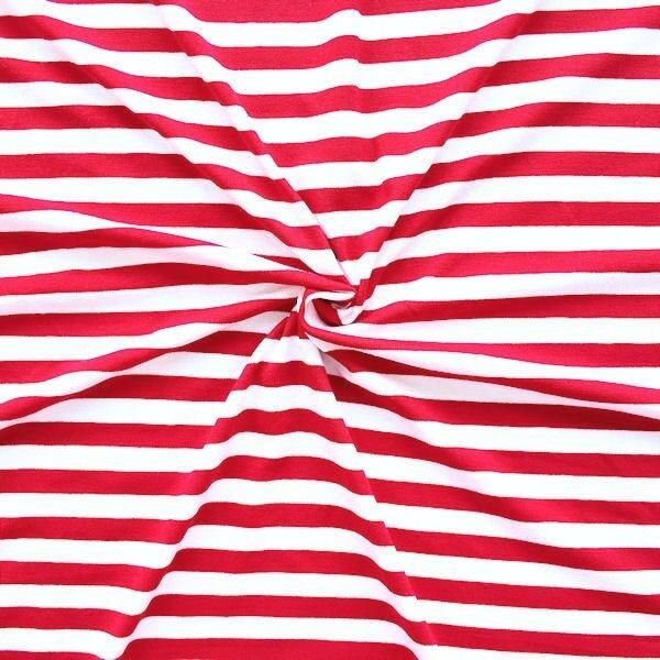 "Viskose Stretch Jersey ""Ringel Mittel"" Farbe Rot-Weiss"