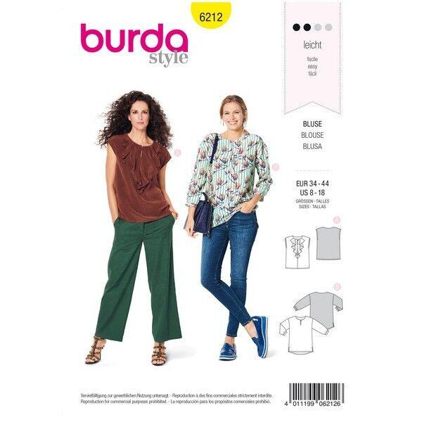 Bluse mit Ausschnittvolant – gerade Form, Gr. 34 - 44, Schnittmuster Burda 6212