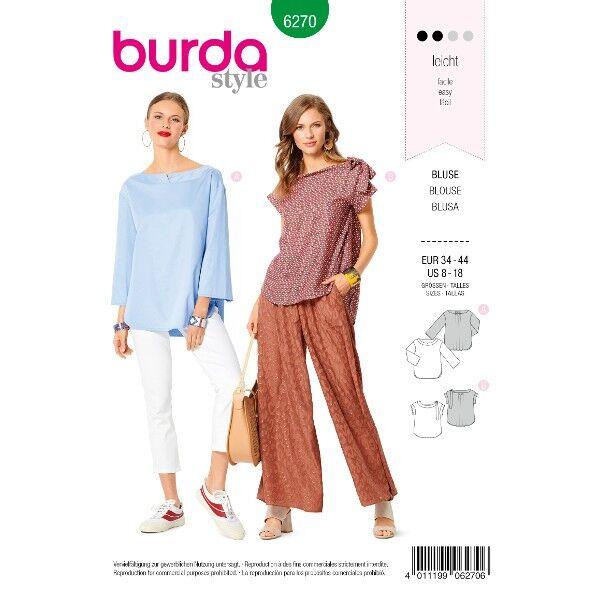Bluse – flacher Ausschnitt mit Blende – legere Weite, Gr. 34 - 44, Schnittmuster Burda 6270