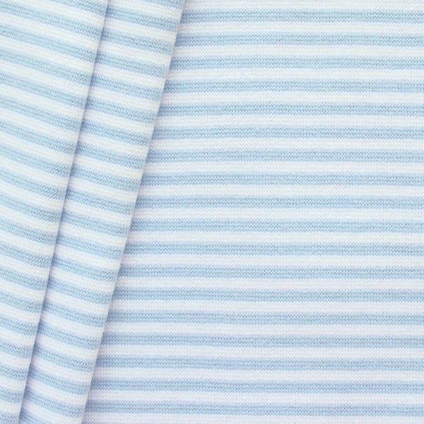 Baumwoll Bündchenstoff Ringel glatt Hell-Blau Weiss
