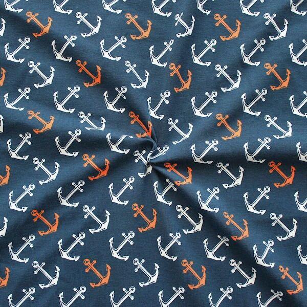 Baumwoll Stretch Jersey Anker groß Navy-Blau