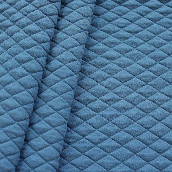 Modestoff Dekostoff Stepp-Optik Rauten Tauben-Blau