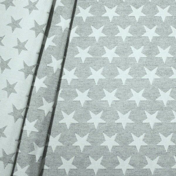 Jacquard Dekostoff Doubleface Stars Hell-Grau Weiss