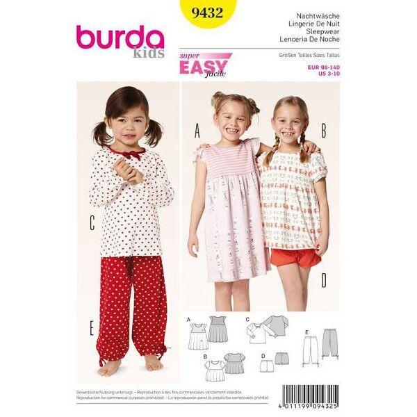Burda 9432 Schnittmuster für Nachtwäsche: Nachthemd und Schlafanzug mit zwei verschiedenen Oberteilen und Hose in zwei Längen