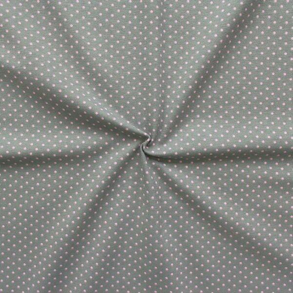 Baumwoll Stretch Jersey Punkte klein Grau-Rosa