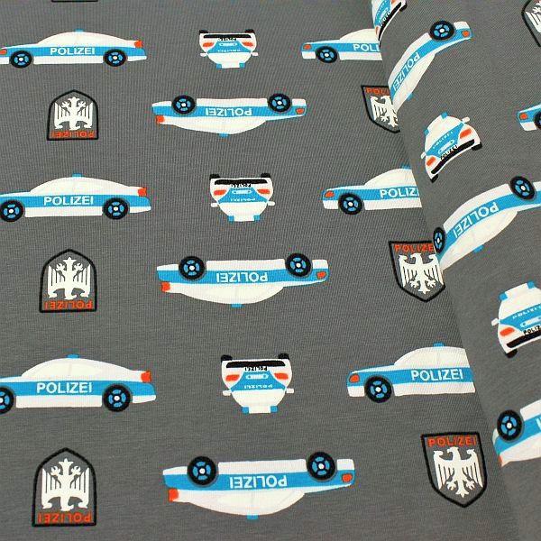 "3,00 Meter - Baumwoll Stretch Jersey ""Polizei"" Farbe Dunkel-Grau"