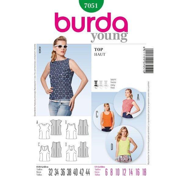Damentop überschnittene Schultern, Gr. 32 - 44, Schnittmuster Burda 7051