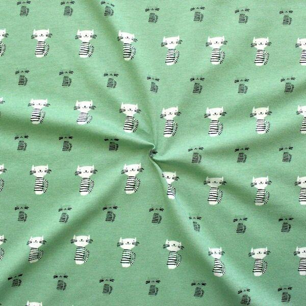 "Baumwoll Stretch Jersey ""Happy Cats"" Farbe Grün"