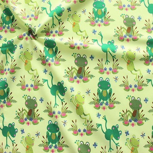 Baumwollstoff Happy Frogs Hell-Grün