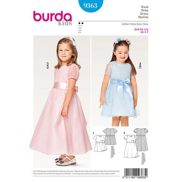 Kleid – doppellagig – festlich – Puffärmel, Gr. 92 - 122, Schnittmuster Burda 9363