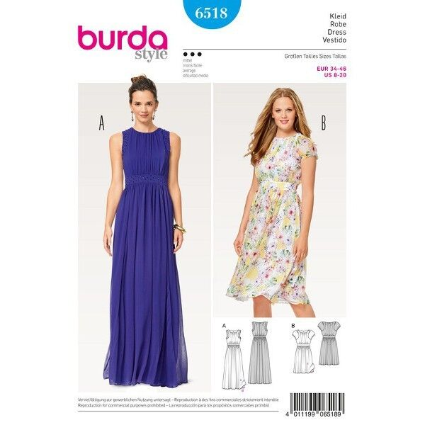 Kleid - Abendkleid - doppellagig - Taillenblende, Gr. 34 - 46, Schnittmuster Burda 6518