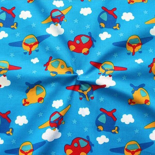 Baumwollstoff Sternen Flieger Blau