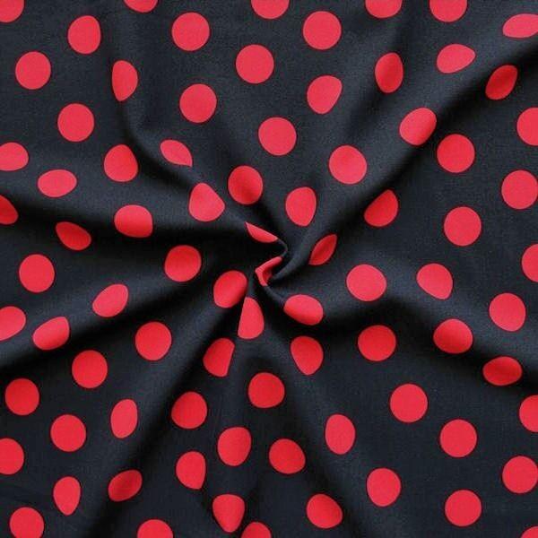 Modestoff Dekostoff universal Punkte Schwarz-Rot