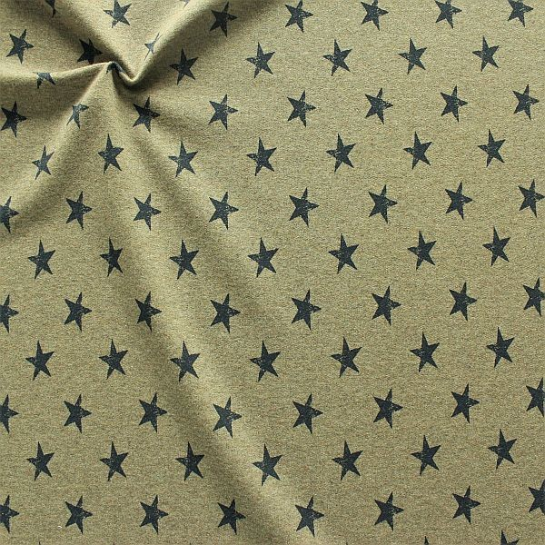 Sweatshirt Baumwollstoff French Terry Sterne Used Look Khaki meliert
