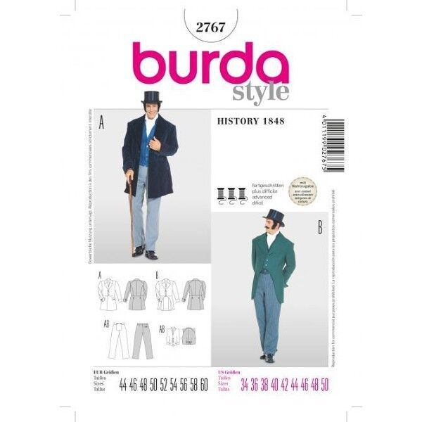 Frack, White Tie, Herrenanzug, Gr. 44 - 60, Schnittmuster Burda 2767