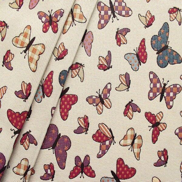 """Gobelin Möbelstoff / Dekostoff """"Schmetterlinge"""" Farbe Weiss-Beige"""