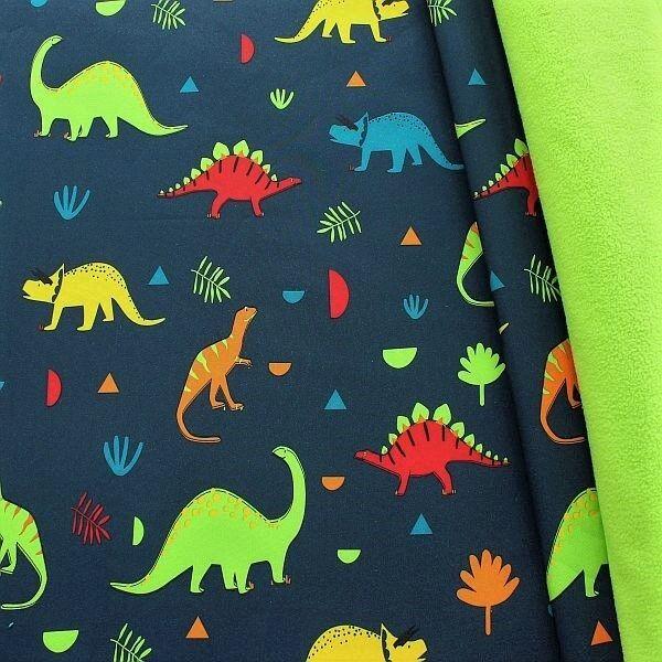 Softshell Fleece Stoff Dino Mix Dunkel-Blau Lind-Grün