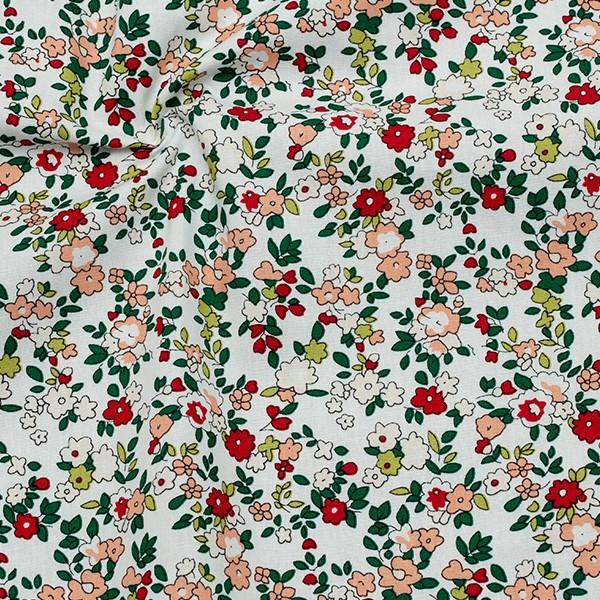 Bumwollstoff Popeline Kleine Blüten Hell-Mint