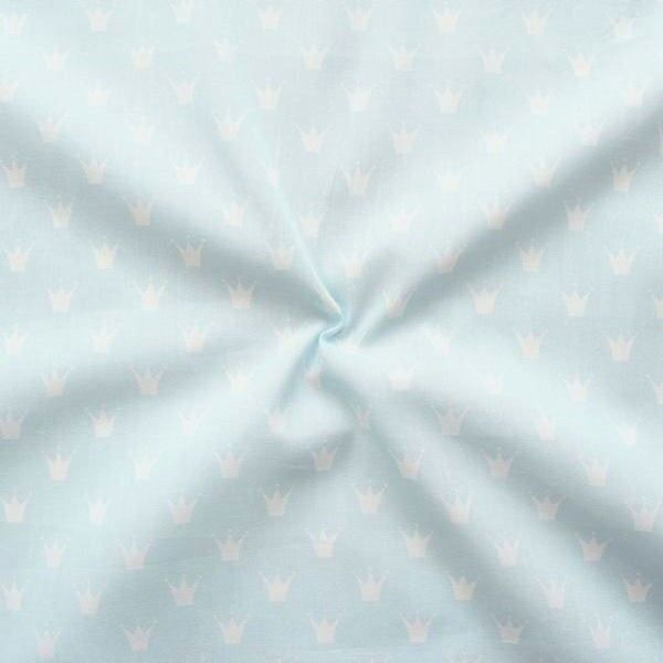 Baumwolle Popeline Kronen klein Hell-Blau Weiss