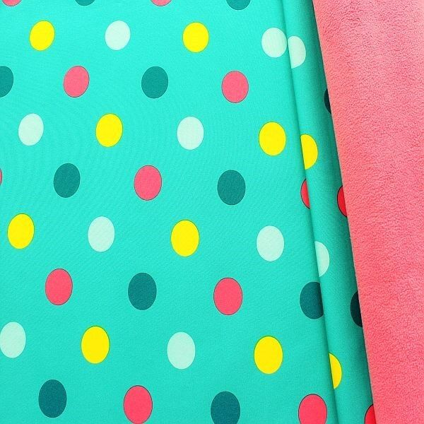 Softshell Fleece Stoff Big Dots Mint-Grün Rosa