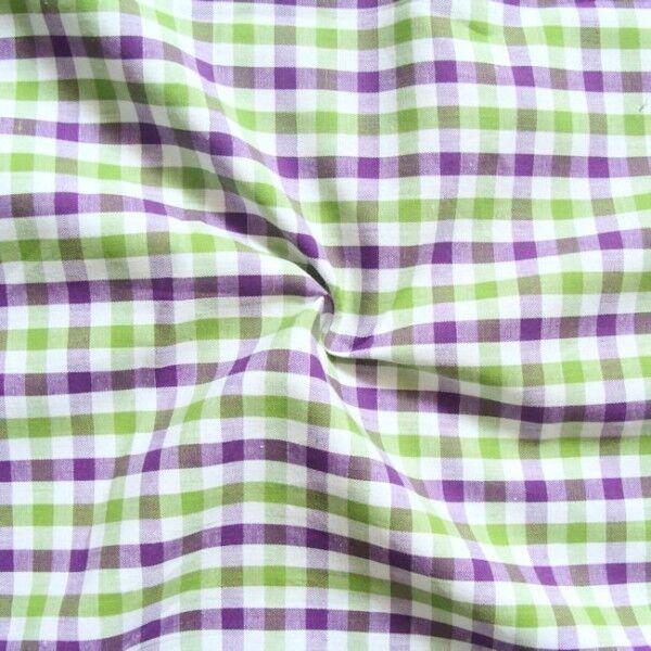 """6,60 Meter Baumwollstoff Hemden Qualität """"Fashion Karo 3"""" Farbe Lila-Grün-Weiss"""