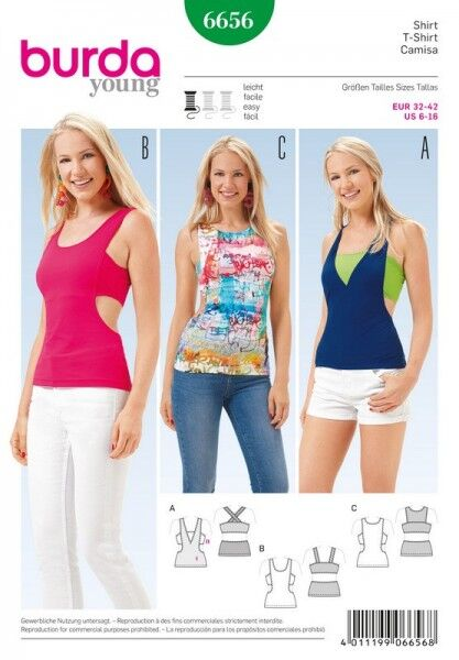 Shirt – Trägertop – Cut-outs, Gr. 32 - 42, Schnittmuster Burda 6656
