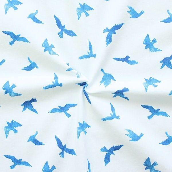 """Baumwoll Stretch Jersey """"Vögel"""" Farbe Weiss-Blau"""