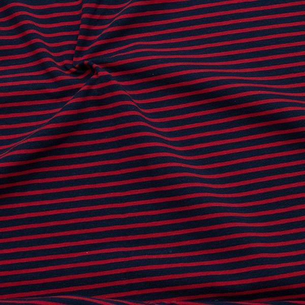 Baumwoll Stretch Jersey Ringel Dunkel-Blau Rot